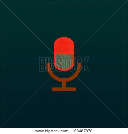 Retro microphone. Color symbol icon on black background. Vector illustration