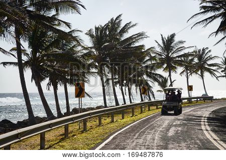 People On The Road In San Andres