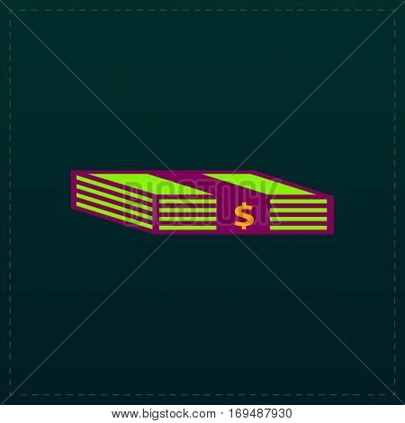 Bundle of Dollars. Color symbol icon on black background. Vector illustration