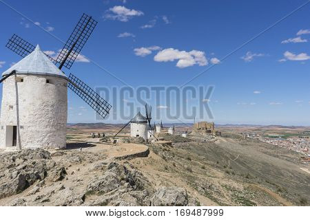 Spanish tourism, White wind mills for grinding wheat. Town of Consuegra in the province of Toledo, Spain