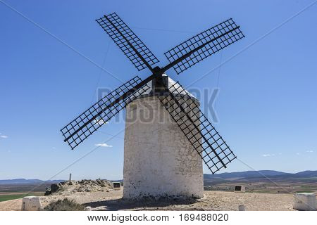 Generator, White wind mills for grinding wheat. Town of Consuegra in the province of Toledo, Spain