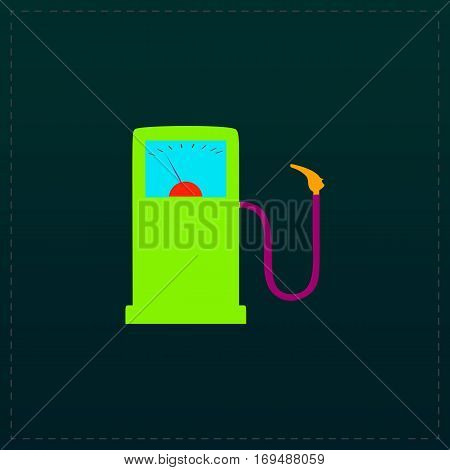 Gas station. Color symbol icon on black background. Vector illustration