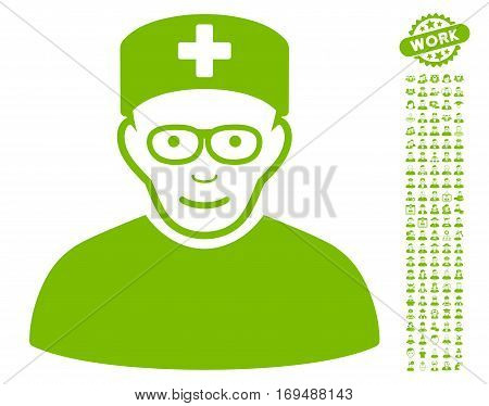 Medical Specialist icon with bonus occupation pictograms. Vector illustration style is flat iconic eco green symbols on white background.