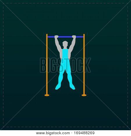 Horizontal bar and man. Color symbol icon on black background. Vector illustration