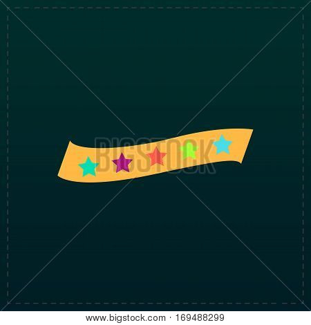 Recommended bestseller star ribbon. Color symbol icon on black background. Vector illustration