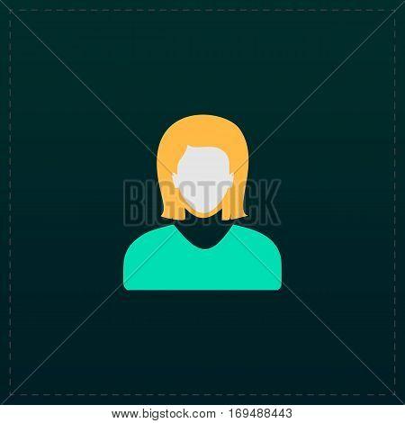 Woman avatar profile picture. Color symbol icon on black background. Vector illustration