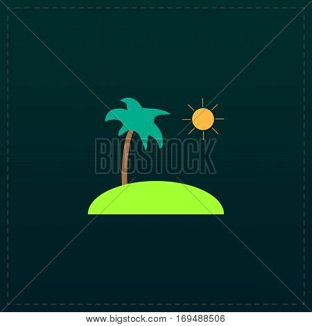 Island and palm. Color symbol icon on black background. Vector illustration