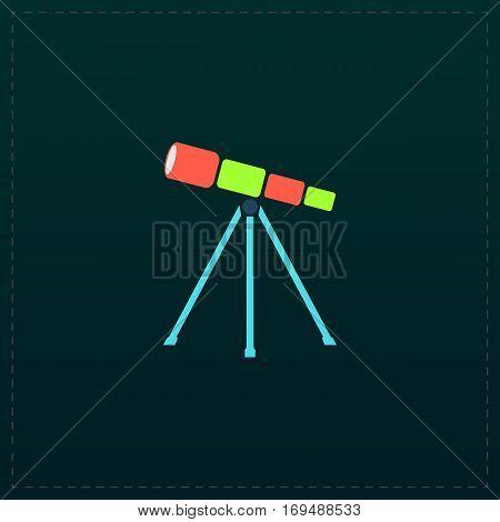 Telescope. Color symbol icon on black background. Vector illustration