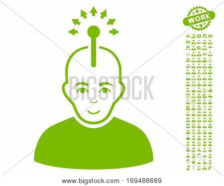 Optical Neural Interface pictograph with bonus human pictures. Vector illustration style is flat iconic eco green symbols on white background.