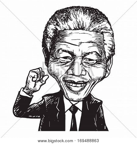 Nelson Mandela Hand Drawn Portrait Caricature Vector Illustration. February 8, 2017