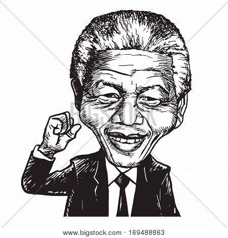 Nelson Mandela Hand Drawn Portrait Caricature Vector Illustration. February 8, 2017