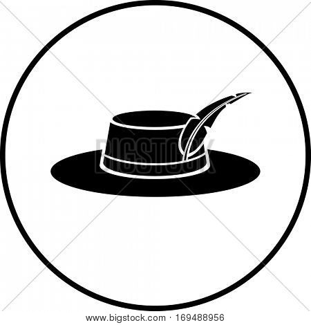 hat with feather symbol