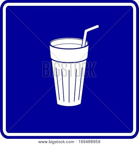beverage glass with drinking straw sign