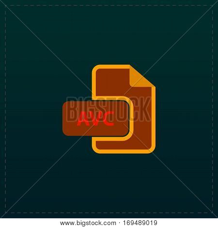 AVC file. Color symbol icon on black background. Vector illustration