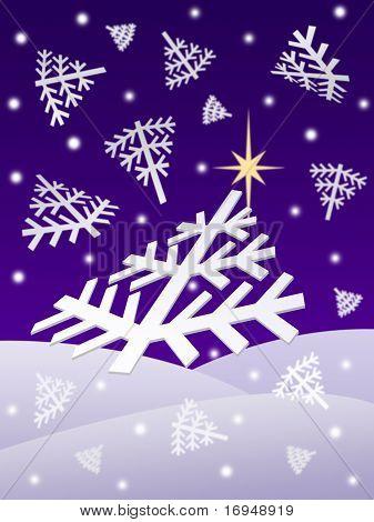 Christmas night snowflakes