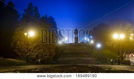 Nighttime image of Lenin monument in Pyatigorsk, Russia