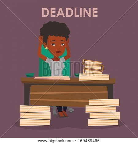 African-american business woman having problem with deadline. Stressed business woman clutching her head because of missed deadline. Deadline concept. Vector flat design illustration. Square layout.