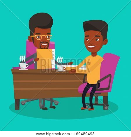 Two african-american businessmen during business meeting. Two businessmen talking on business meeting. Businessmen drinking coffee on business meeting. Vector flat design illustration. Square layout