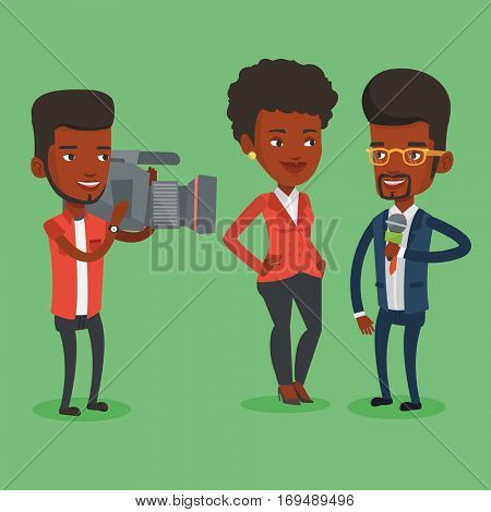 African-american professional reporter with microphone interviews a woman. Operator filming interview. Journalist making interview with business woman. Vector flat design illustration. Square layout.