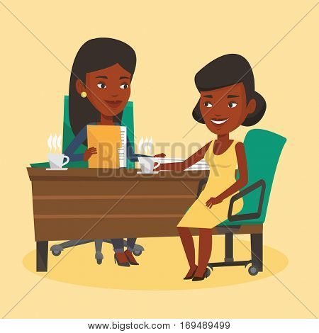 Two african-american businesswomen during business meeting. Businesswomen talking on business meeting. Businesswomen drinking coffee on business meeting. Vector flat design illustration. Square layout