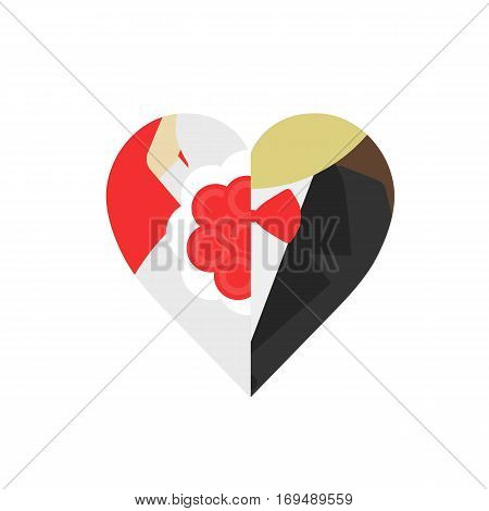 groom and bride in heart shape isolated on white background