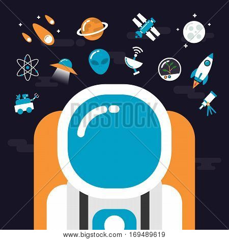 set of astronomy and flat space icon