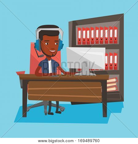 An african-american young happy man using computer for playing games. Cheerful man in headphones playing online games. Man playing computer games. Vector flat design illustration. Square layout.