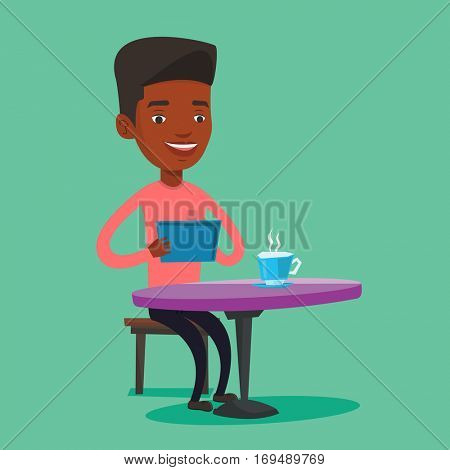 African man using a tablet computer in a cafe. Man surfing in the social network. Social network concept. Vector flat design illustration. Square layout.