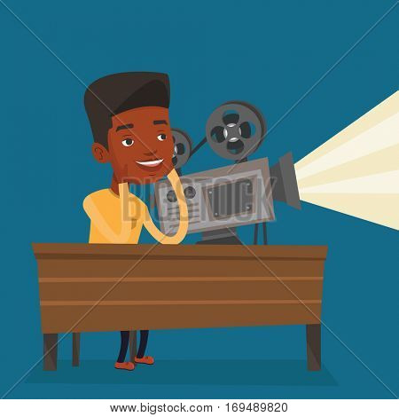 An african projectionist showing new film. Man sitting at the table with film projector in the room of projectionist. Young projectionist at work. Vector flat design illustration. Square layout.