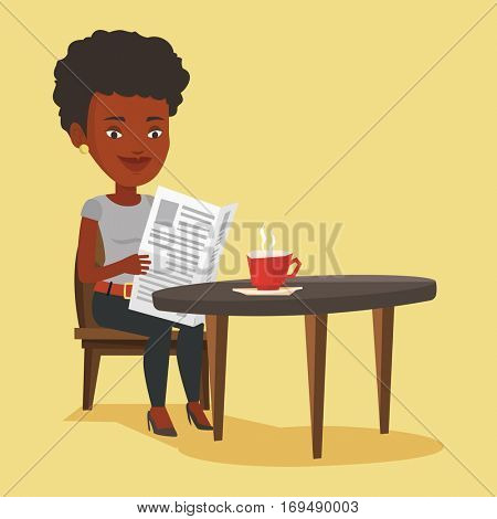 An african-american woman reading newspaper in a cafe. Woman reading the news in newspaper. Woman sitting with newspaper in hands and drinking coffee. Vector flat design illustration. Square layout.