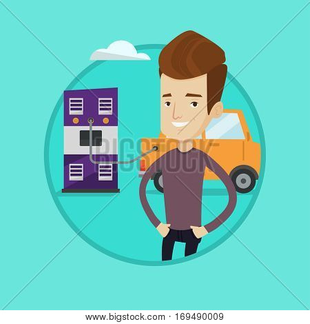 Young happy man charging electric car at charging station. Cheerful man standing near power supply for electric car charging. Vector flat design illustration in the circle isolated on background.