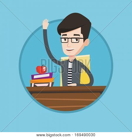 Caucasian student raising hand for an answer. Student sitting at the desk with raised hand. Schoolboy raising his hand at lesson. Vector flat design illustration in the circle isolated on background.