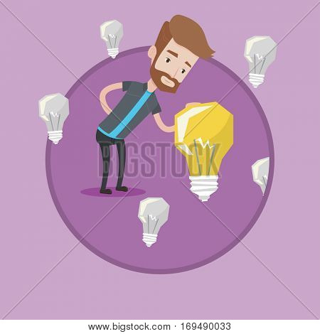 Man having business idea. Young caucasian businessman standing among unlit idea bulbs and looking at the brightest idea bulb. Vector flat design illustration in the circle isolated on background.