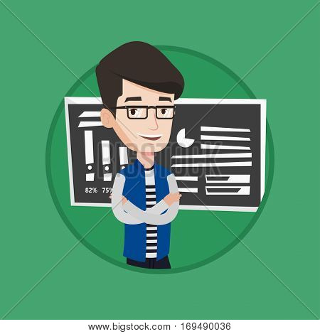 Caucasian teacher or student standing in front of chalkboard. Teacher with folded arms standing on the background of chalkboard. Vector flat design illustration in the circle isolated on background.