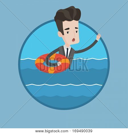 Frightened businessman sinking and asking for help. Caucasian businessman with lifebuoy sinking. Concept of failure in business. Vector flat design illustration in the circle isolated on background.