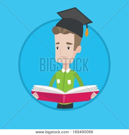 Happy graduate standing with a big open book in hands. Smiling male student in graduation cap reading a book. Man holding a book. Vector flat design illustration in the circle isolated on background.