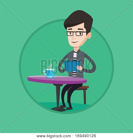 Caucasian man using tablet computer and surfing in social network. Man rewriting in social network. Social network concept. Vector flat design illustration in the circle isolated on background