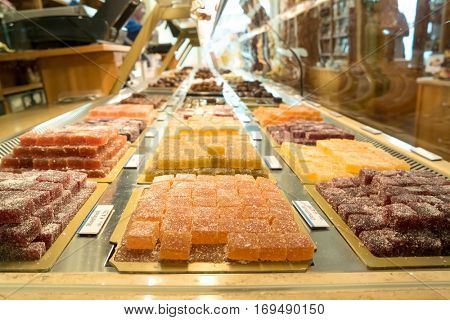Munich, Germany - August 6, 2016: Showcase of sweets in the Alois Dallmayr. Coffee and Food Store located near Marienplatz in Munich