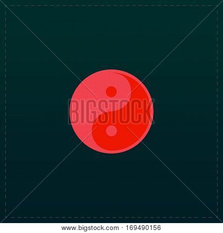 Ying-yang icon of harmony and balance. Color symbol icon on black background. Vector illustration