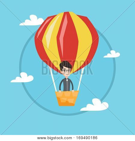 Happy man flying in a hot air balloon. Caucasian man standing in the basket of hot air balloon. Man traveling by hot air balloon. Vector flat design illustration in the circle isolated on background.