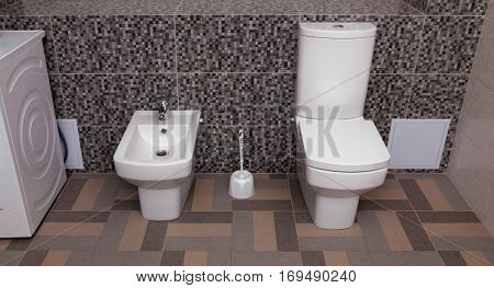 white toilet bowl and bidet in a bathroom