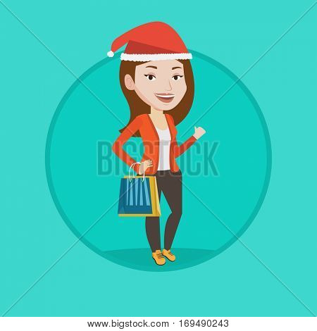 Woman in christmas hat holding shopping bags. Woman carrying shopping bags with christmas gifts. Girl shopping for christmas gifts. Vector flat design illustration in the circle isolated on background