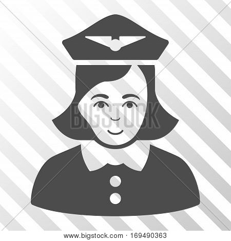 Gray Airline Stewardess interface toolbar pictogram. Vector pictogram style is a flat symbol on diagonally hatched transparent background.