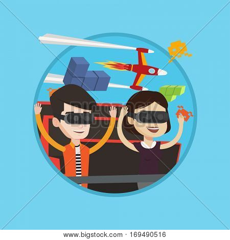 Caucasian couple in virtual reality headset riding on roller coaster. Couple in vr glasses having fun at virtual amusement park. Vector flat design illustration in the circle isolated on background