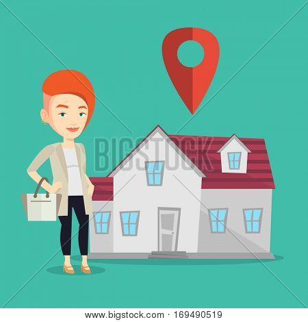 Young smiling caucasian real estate agent standing on a background of map pointer above the house. Happy female real estate agent offering the house. Vector flat design illustration. Square layout.