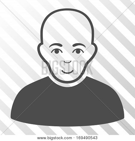 Gray Bald Man interface toolbar icon. Vector pictogram style is a flat symbol on diagonally hatched transparent background.