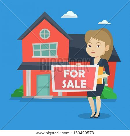 Caucasian confident realtor offering the house. Young female realtor with placard for sale and documents in hands standing on a background of house. Vector flat design illustration. Square layout.