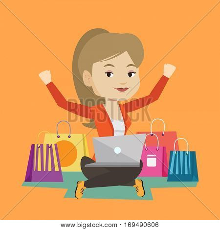 Young caucasian woman with hands up using laptop for shopping online. Happy customer sitting with shopping bags around her. Woman doing online shopping. Vector flat design illustration. Square layout.