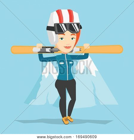 Smiling caucasian woman carrying skis. Sportswoman standing with skis on her shoulders on the background of snow capped mountain. Young woman skiing. Vector flat design illustration. Square layout.