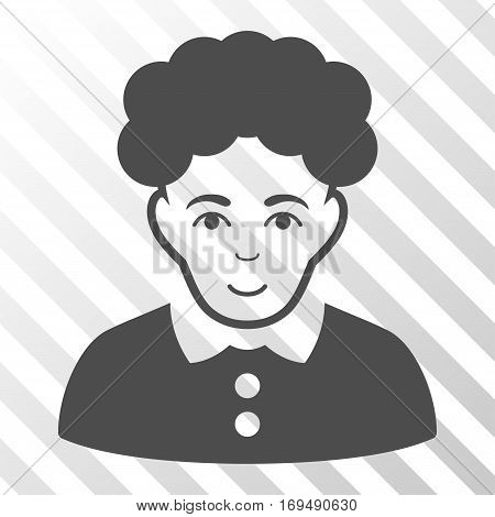 Gray Brunette Woman toolbar pictogram. Vector pictogram style is a flat symbol on diagonally hatched transparent background.